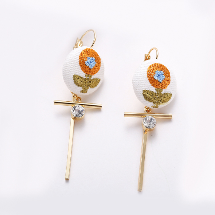 Anting Embroidery ball diamond copper earrings OKT384