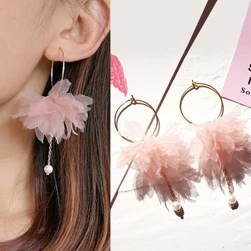 Anting flower fabric earrings OKT599