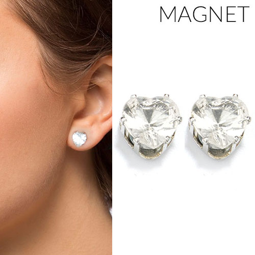 Heart shape zirconia magnet earrings OKT615