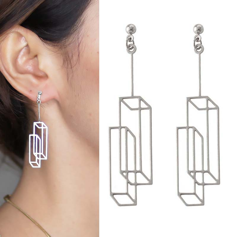 Anting Simple geometric square earrings OKT900