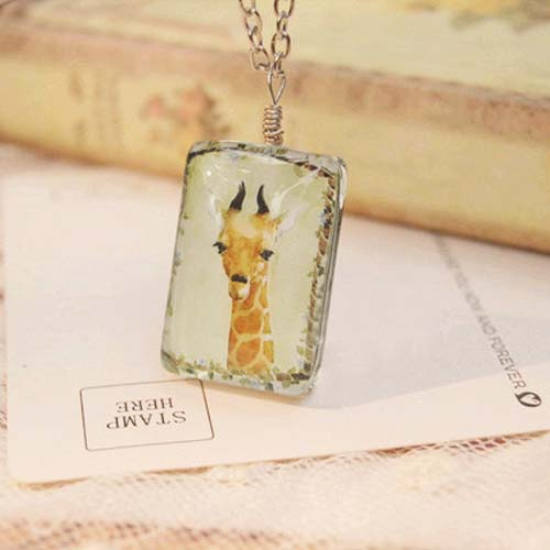 Kalung Fashion Double sided square giraffe necklace S3P050