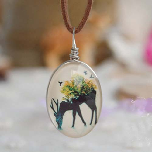 Kalung Fashion Deer on the back of the forest gemstone necklace S3P058