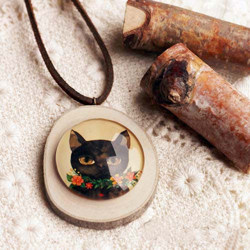 Kalung Fashion Wooden Gem Leather necklaces S3P064