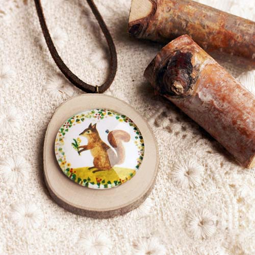 Kalung Fashion Wooden Gem Leather necklaces S3P065