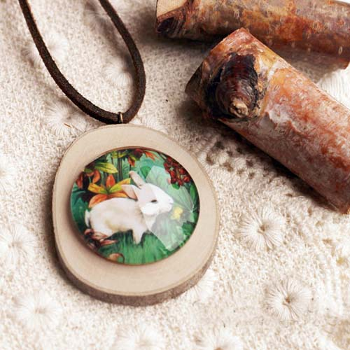 Kalung Fashion Wooden Gem Leather necklaces S3P066