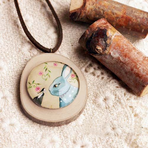 Kalung Fashion Wooden Gem Leather necklaces S3P069