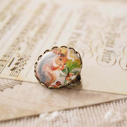 Forest animal time gem brooch pin badge S3P074