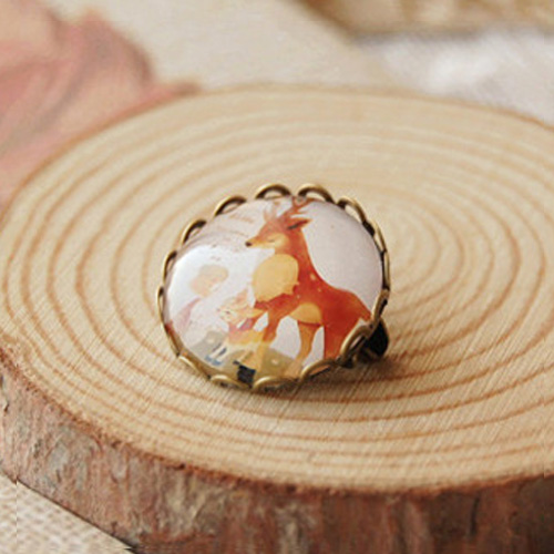 Forest animal time gem brooch pin badge S3P075