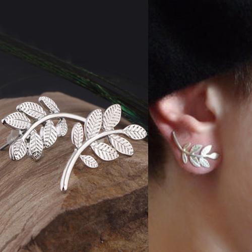 simple metal leaves earrings S3P089