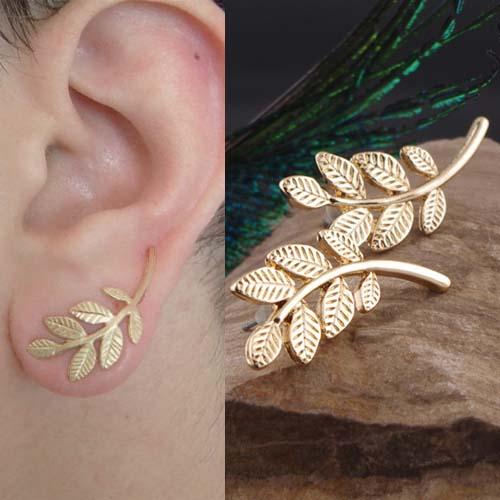 simple metal leaves earrings S3P090