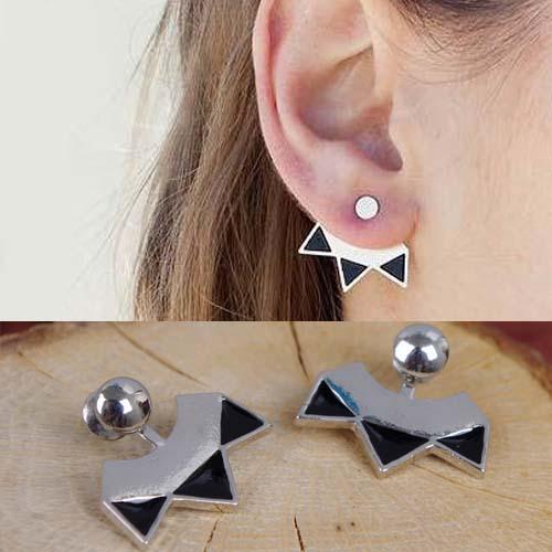 Simple metal triple arrow earrings S3P092