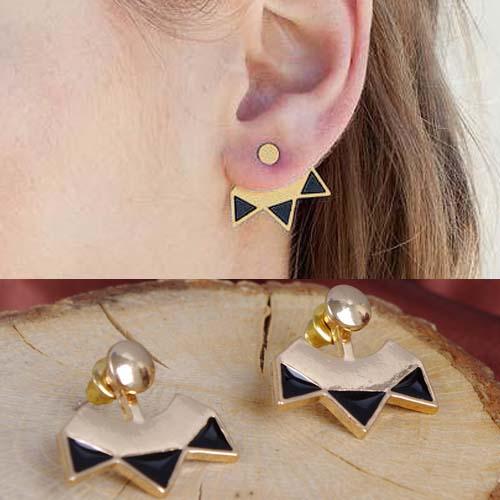 Simple metal triple arrow earrings S3P093