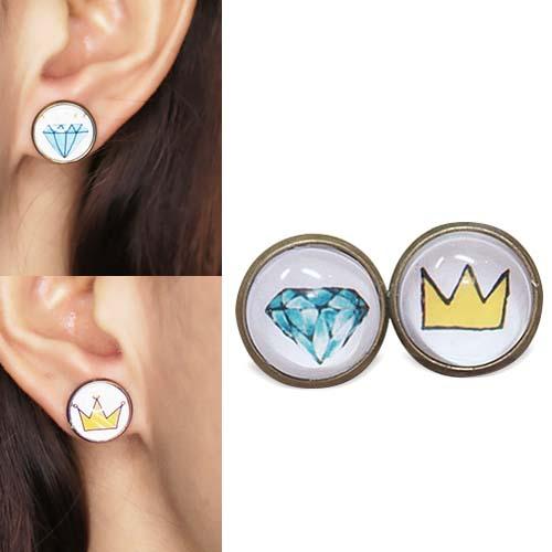 Crown Diamond cartoon earrings S3P099