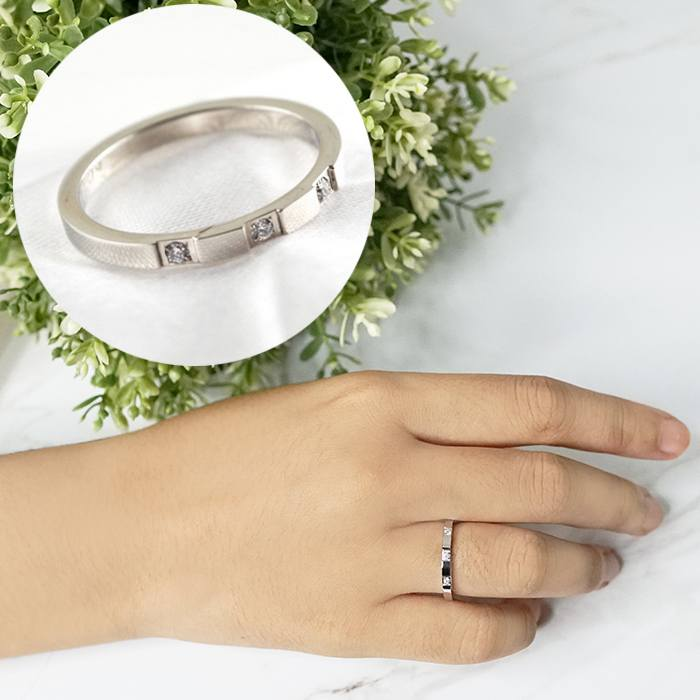 Cincin Korea Retro Zircon Simple Titanium Steel Silver AP2016