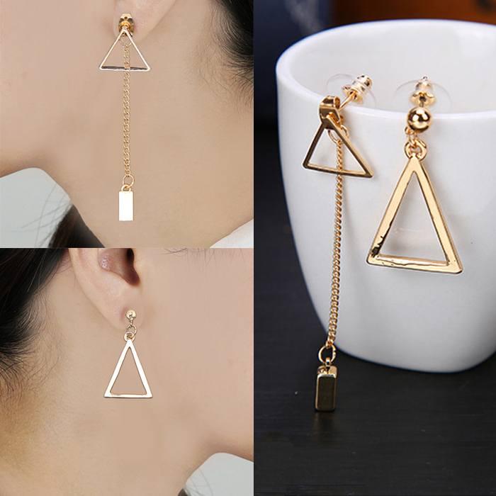 Anting Long Earrings Joker Asymmetric Triangle AP2273