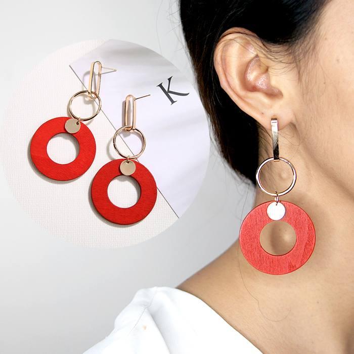 wood pearl tassel earrings AP2282