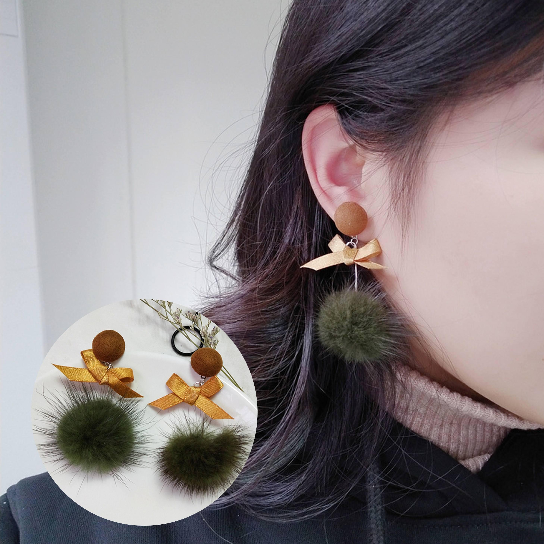 Anting Plush Mane Bow  Earrings AP2340