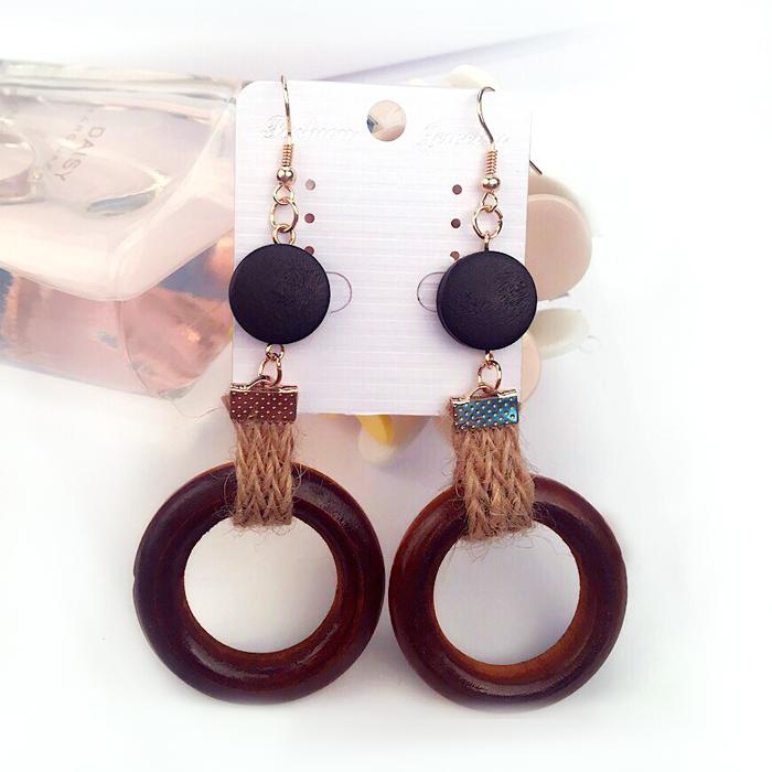Cincin Handmade hemp ropes Joker earrings long AP2363