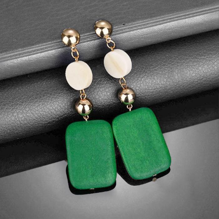 retro long wood earrings AP5018