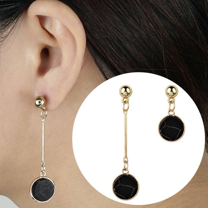 Anting Earrings Triangle Turquoise Asymmetrical AP2444