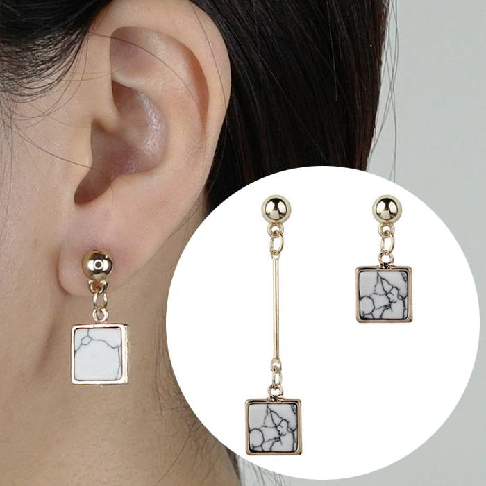 Anting Earrings Triangle Turquoise Asymmetrical AP2445