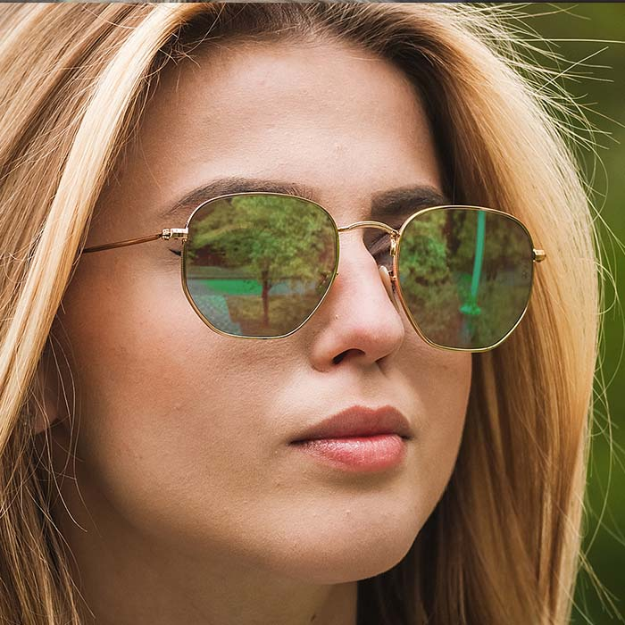 Retro hexagonal sunglasses AP3174