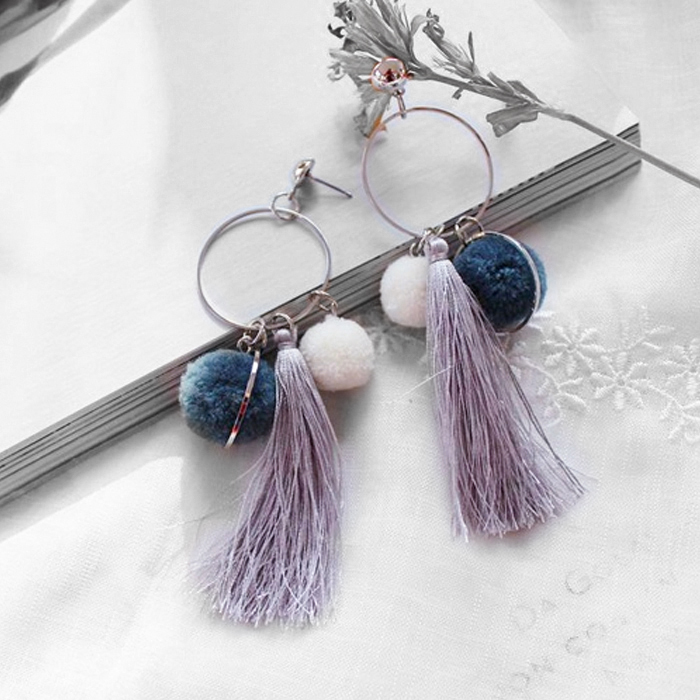 Anting Ball Earrings Candy Color Tassel AP3328
