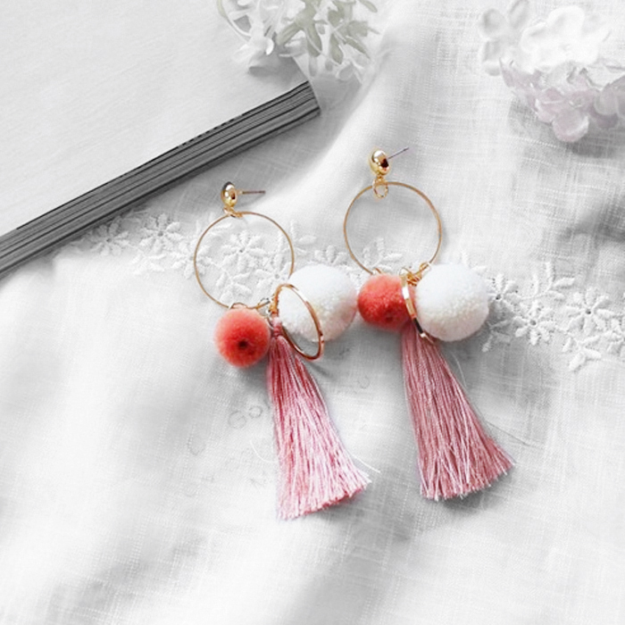 Anting Ball Earrings Candy Color Tassel AP3329