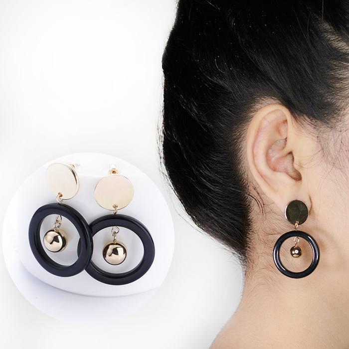 Wood Disc Metal Ring Hollow Temperament Earrings AP3349