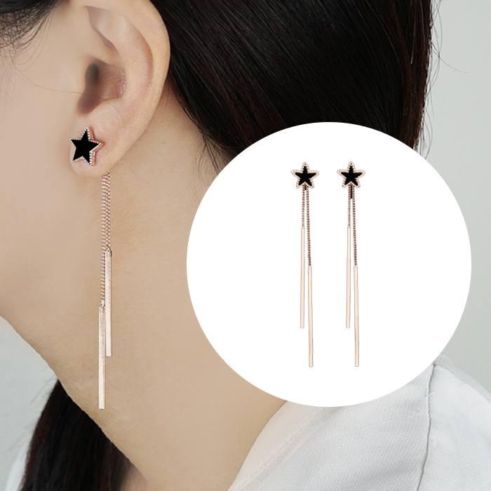 Anting  Geometric Star Temperament Wild Long Earrings AP3355