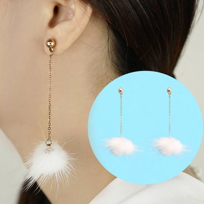 Anting Small Style Wind Earrings Fringe Wild Earrings Fur AP3494