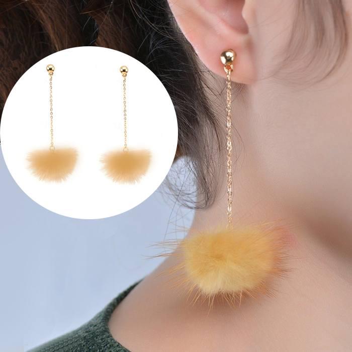 Anting Small Style Wind Earrings Fringe Wild Earrings Fur AP3499