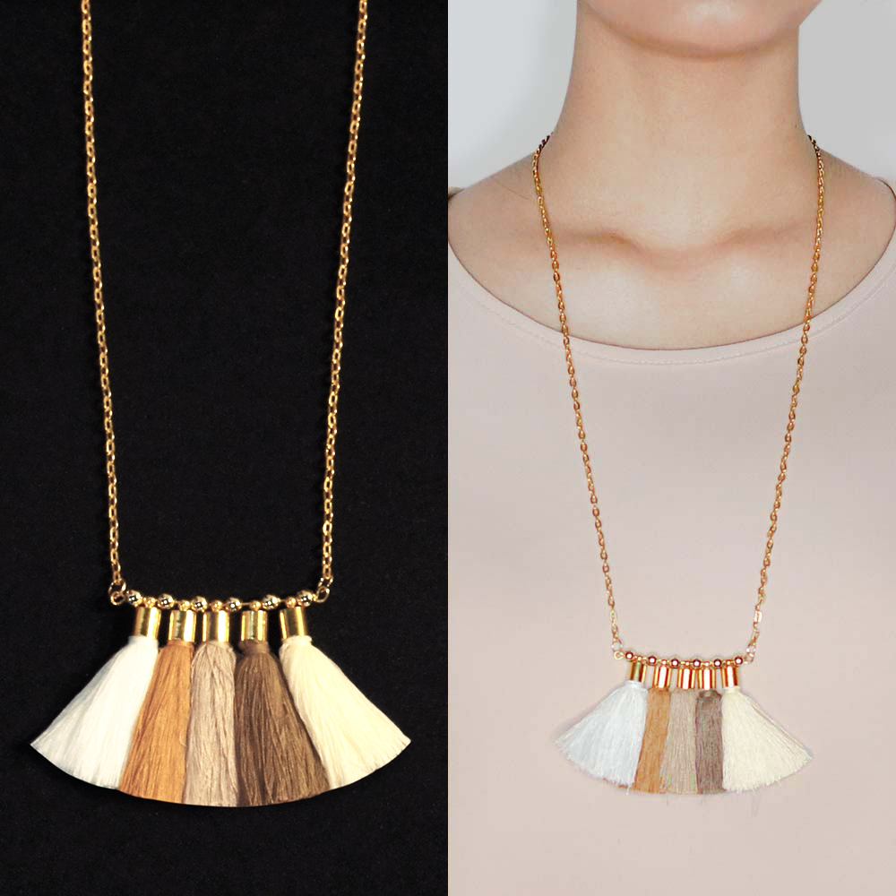 Kalung Bohemian multi tassel necklace BK4002