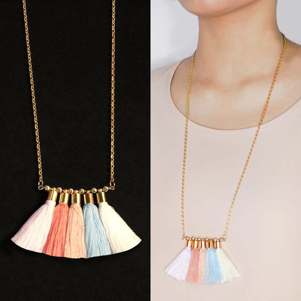 Kalung Bohemian multi tassel necklace BK4003