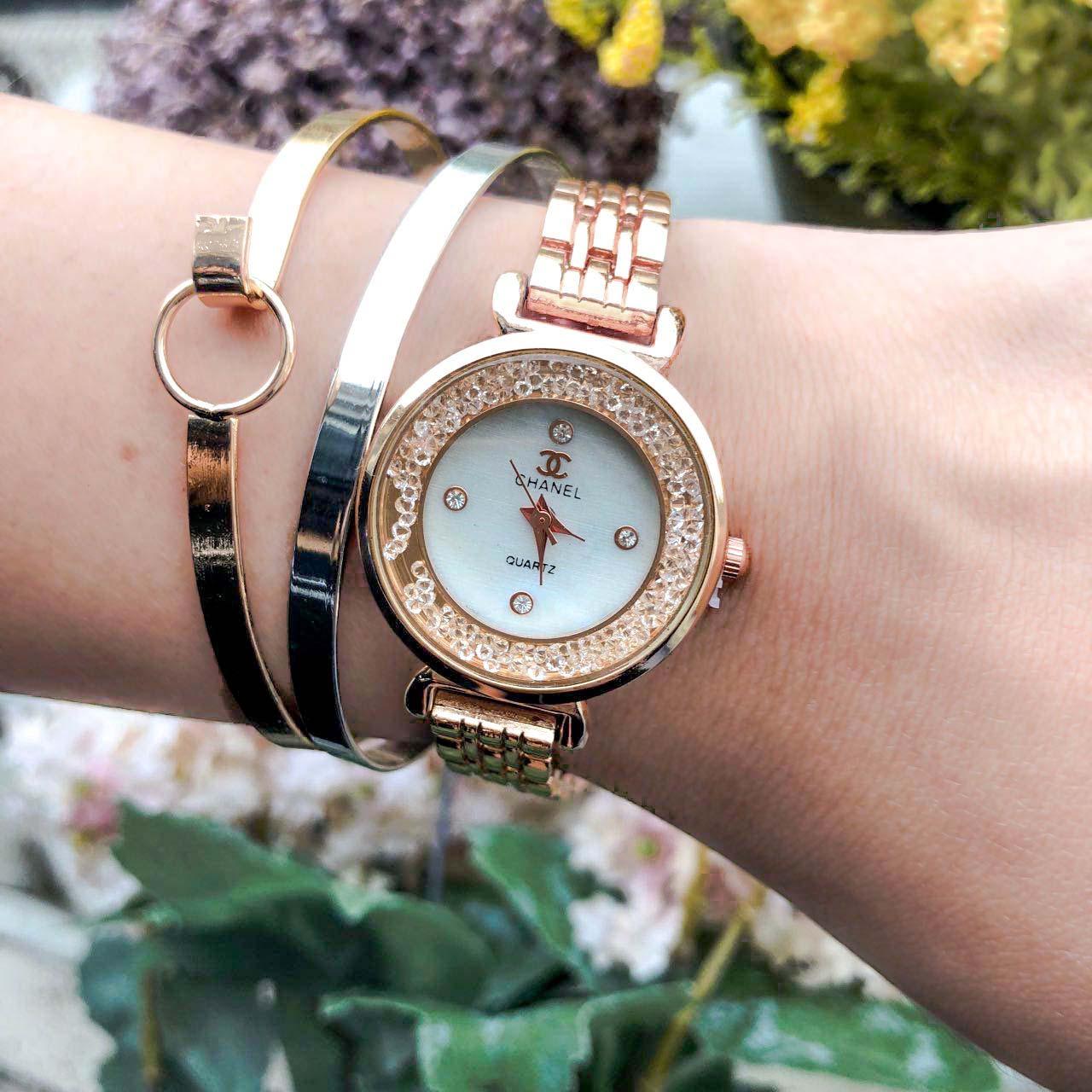 Jam Tangan CHANEL Fashion Watch Diamond Frame Rose Gold Frame+Rose Gold Dial+Rose Gold Band CHAW01