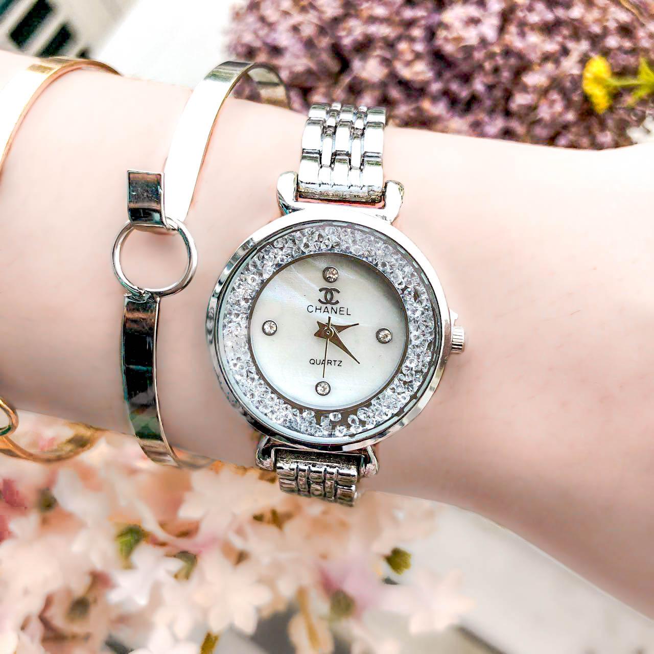 Jam Tangan CHANEL Fashion Watch Diamond Frame Silver Frame+Silver Dial+Silver Band CHAW02