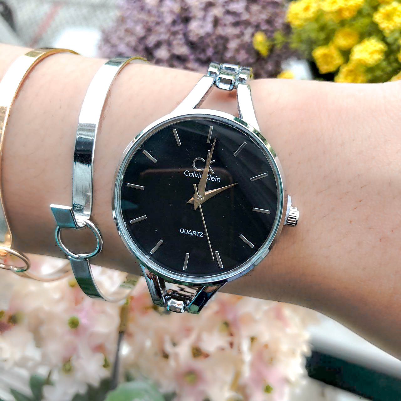Jam Tangan CK Fashion Watch Chain Silver Frame+Silver Dial+Black Background+Silver Band CKCW01