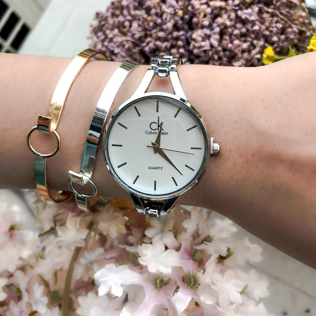 Jam Tangan CK Fashion Watch Chain Silver Frame+Silver Dial+Ivory Background+Silver Band CKCW02