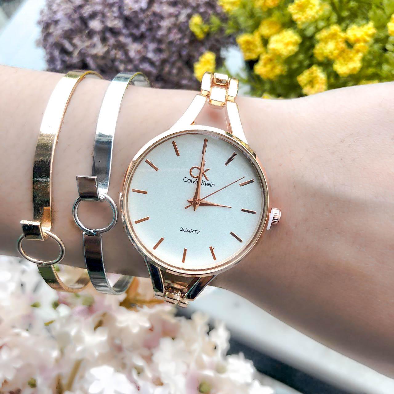 Jam Tangan CK Fashion Watch Chain Rose Gold Frame+Rose Gold Dial+Rose Gold Band CKCW04