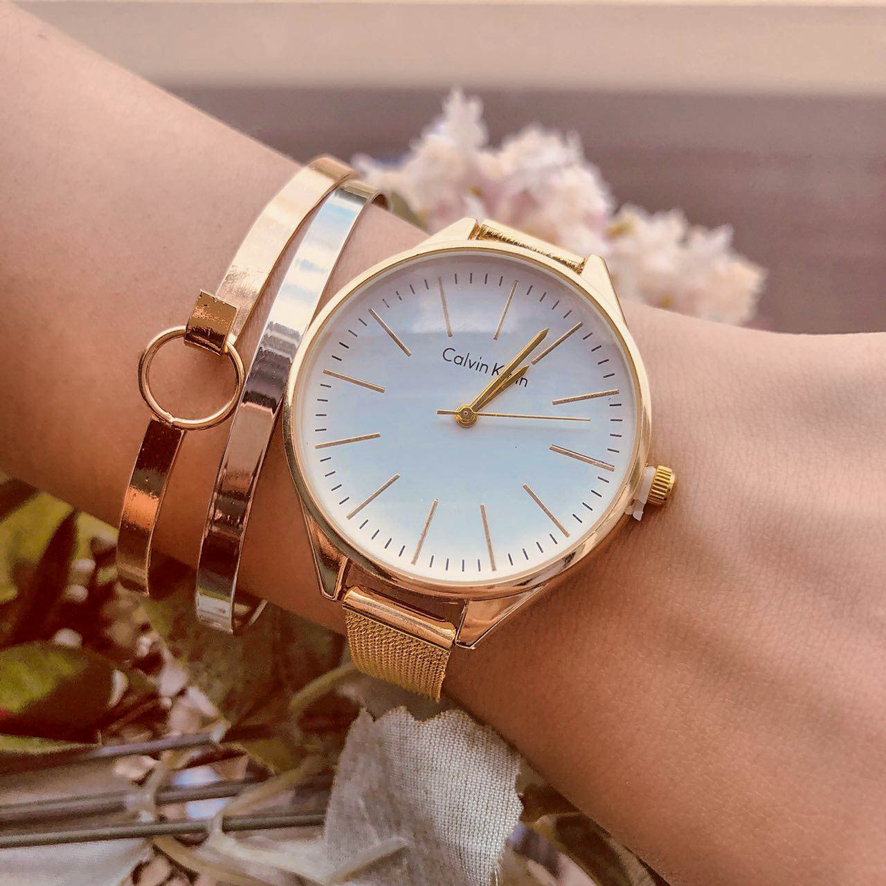 Jam Tangan CK Fashion Watch Chain Gold Frame + Gold Dial + Gold Band CKFW04