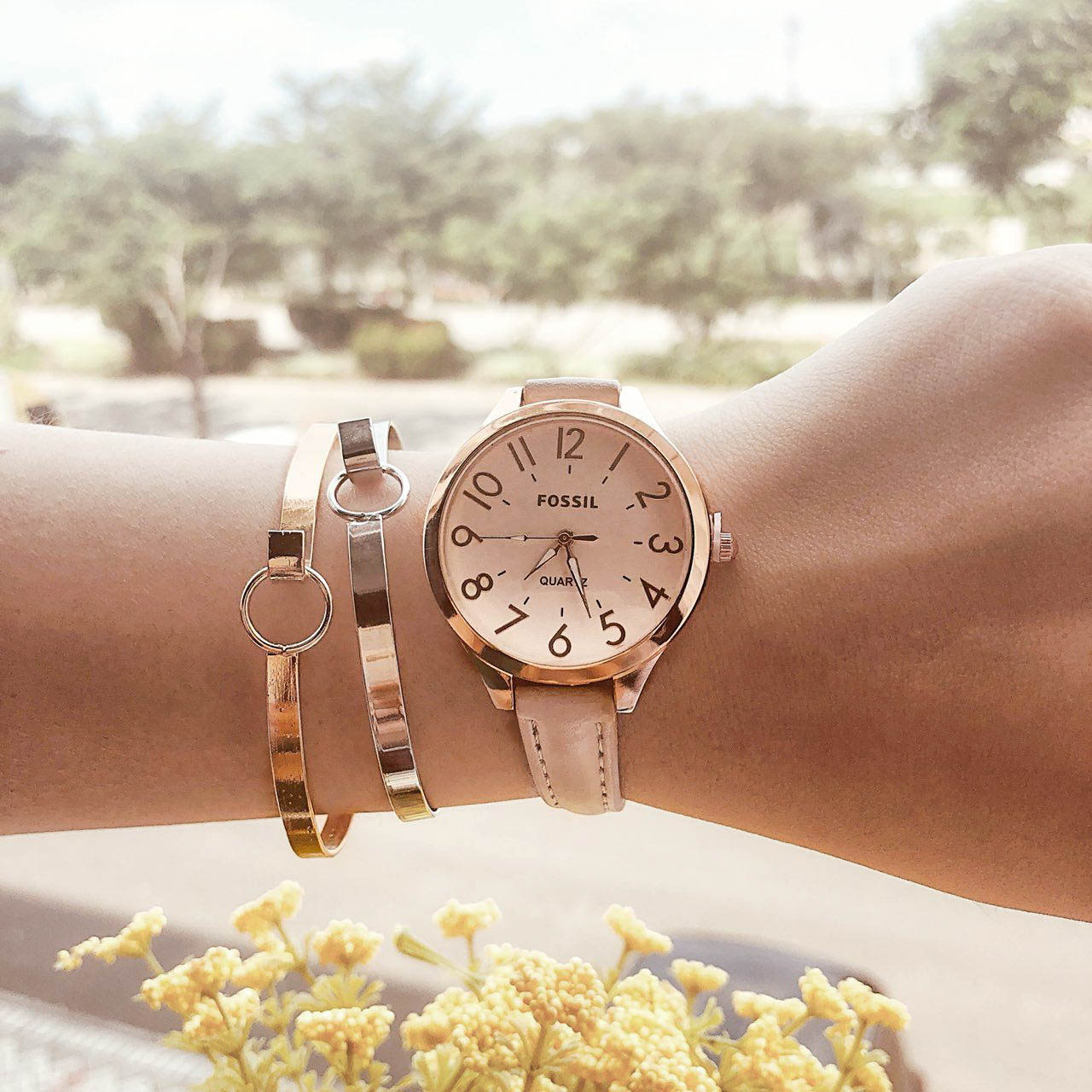 Fos Fashion Watch Leather Rose Gold Frame + Rose Gold Dial + Light Beige Band FOSW04