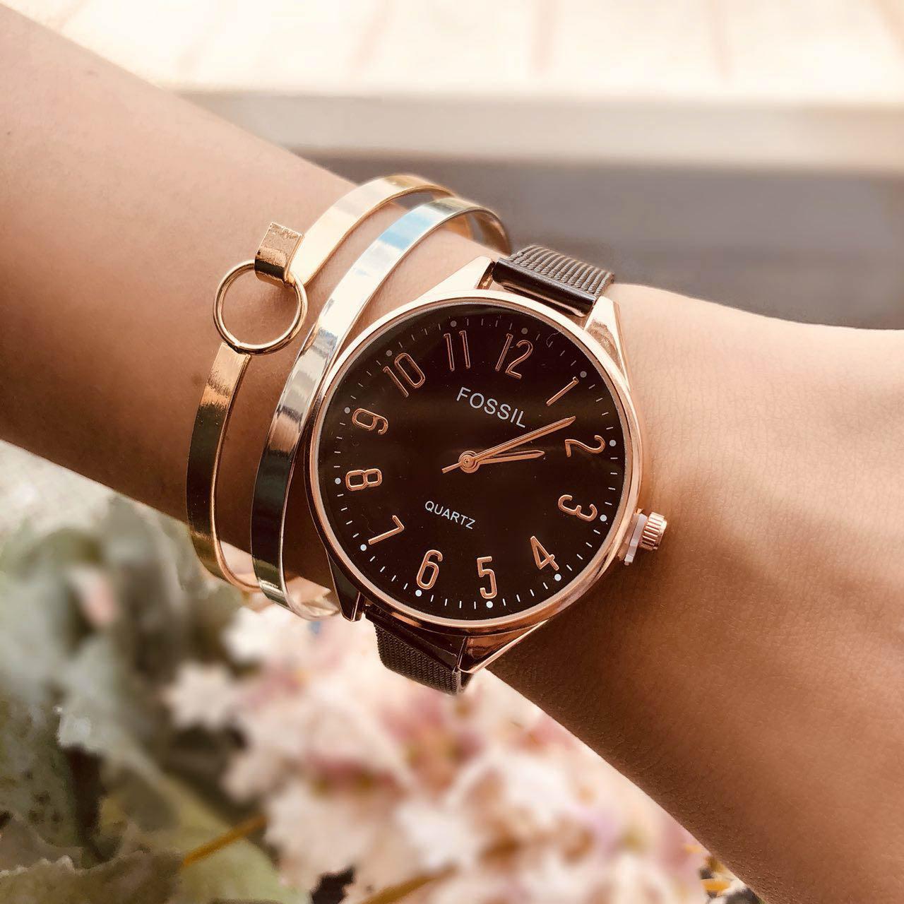 Pelengkap Pakaian Fos Fashion Watch Chain Rose Gold Frame + Rose Gold Dial + Gun Black Band FOSW06