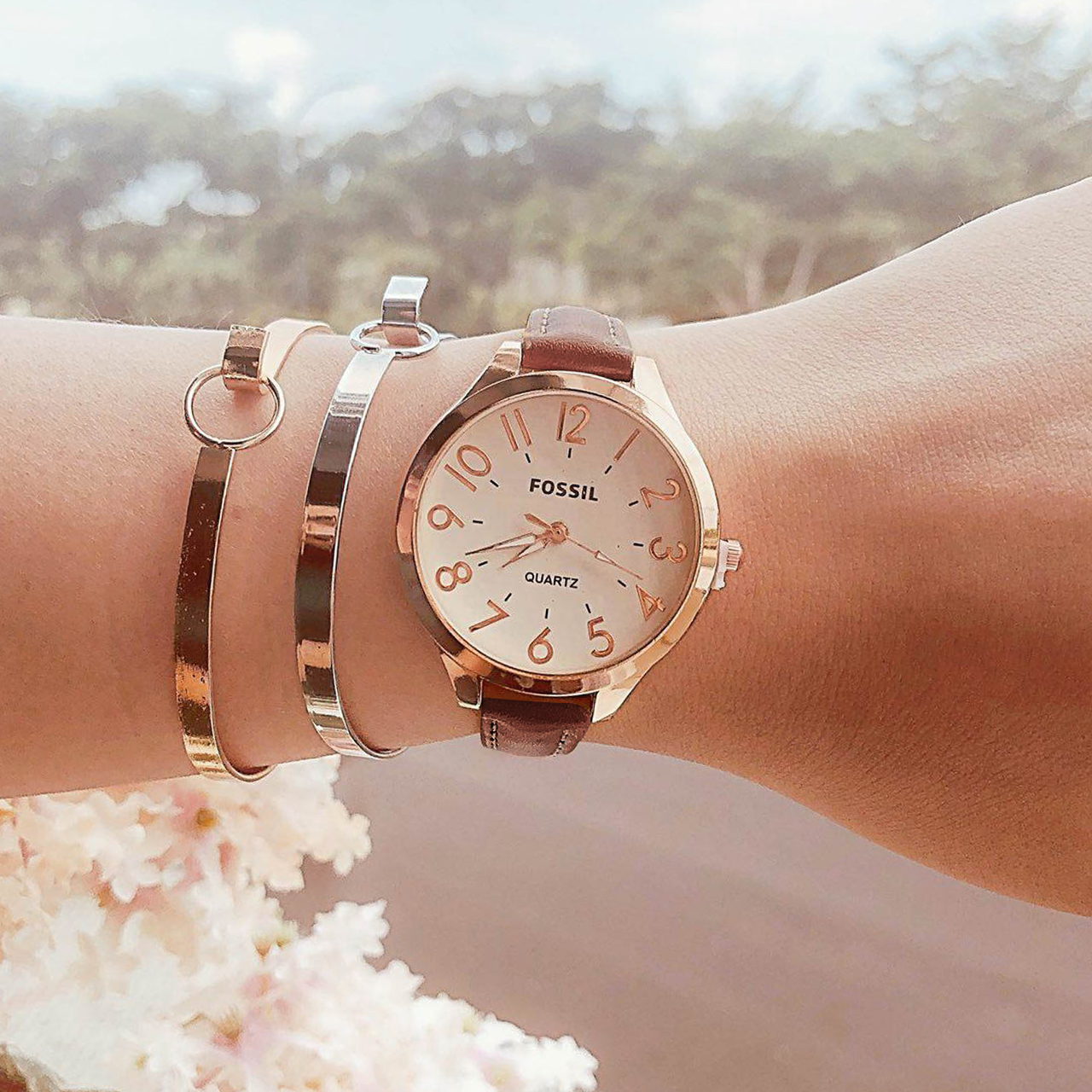 Fos Fashion Watch Leather Rose Gold Frame + Rose Gold Dial + Dark Brown Band FOSW07
