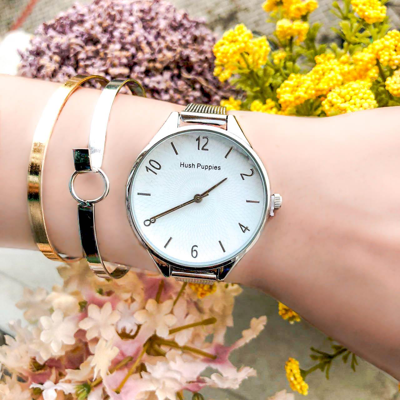 Jam Tangan HP Fashion Watch Chain Silver Frame+Silver Dial+White Background+Silver Dial HPWC05