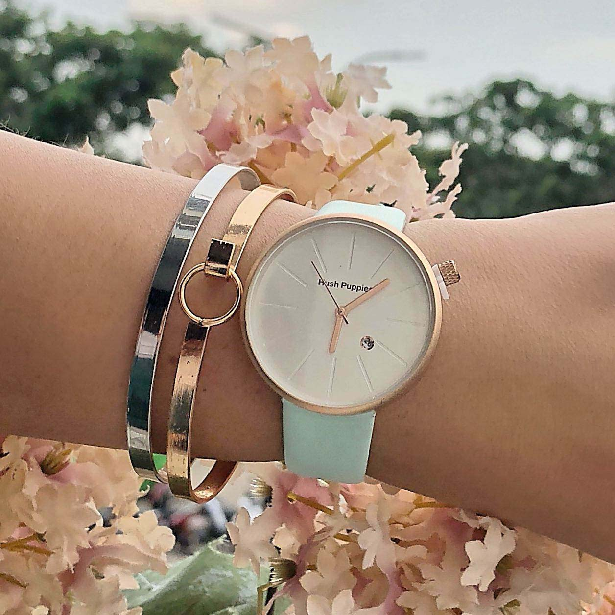 HP Fashion Watch Leather Doff Gold Frame + Doff Gold Dial + Baby Blue Band HPWL03
