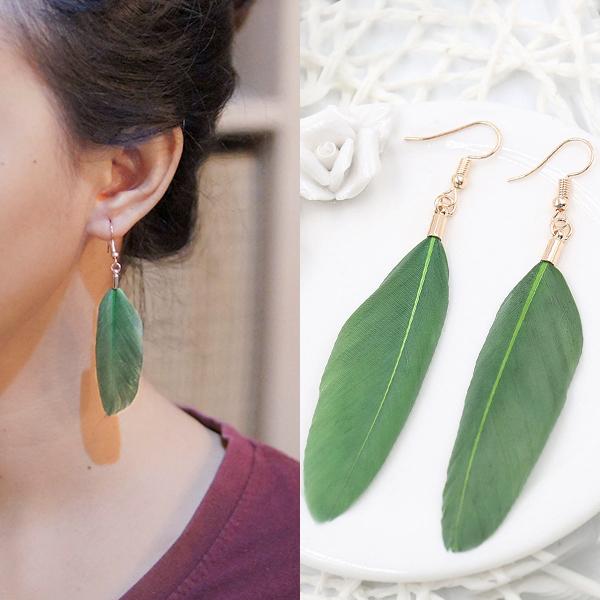 Anting Bohemian minimalist feather earrings J41002