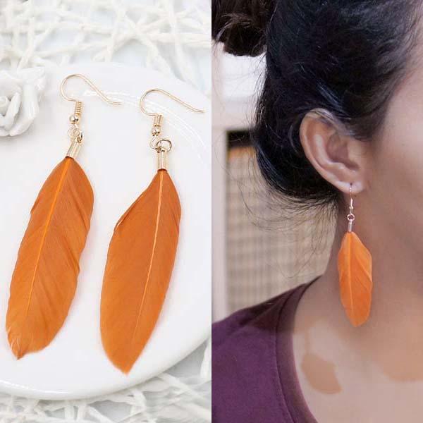 Anting Bohemian minimalist feather earrings J41004