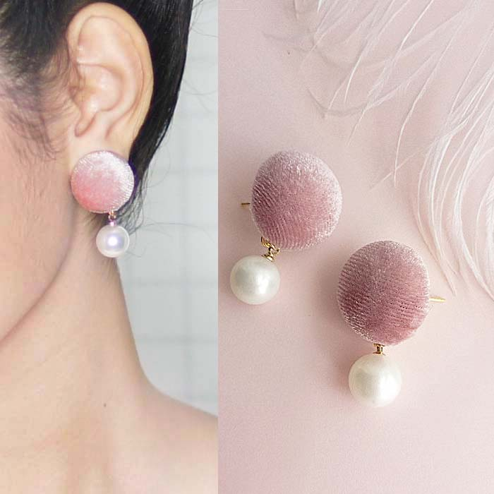 Anting Retro fabric button earrings J41029