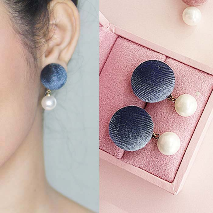Anting Retro fabric button earrings J41030
