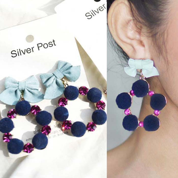 Anting Knot suede ball ring diamond earrings J41040